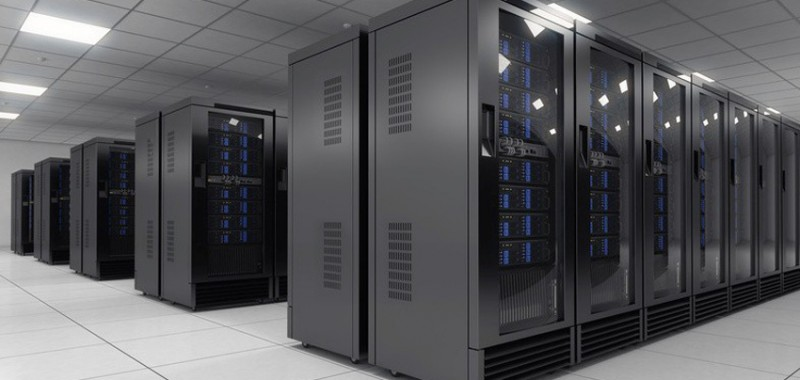 Picture of cabinets in modern server room / data center depicting a clean, environmentally friendly design
